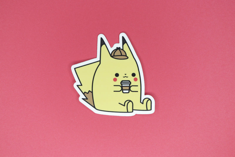 Detective Pikachu Blushing While Holding a Coffee Sticker by Dbl Feature