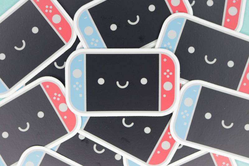 Pile of Neon Blue and Neon Red Switch Stickers