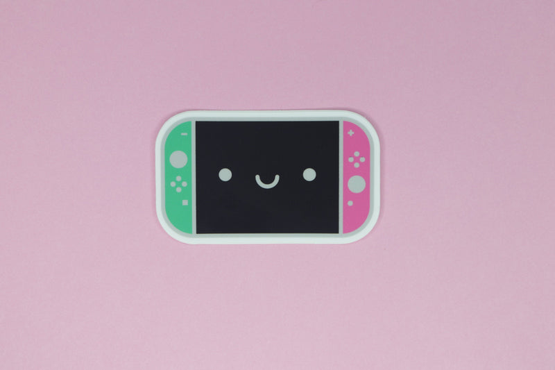 Happy Splatoon Switch Sticker on Pink Background