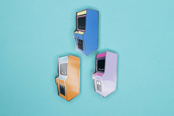 Orange, Blue, and Purple Mini Arcade Machine Pins by Dbl Feature