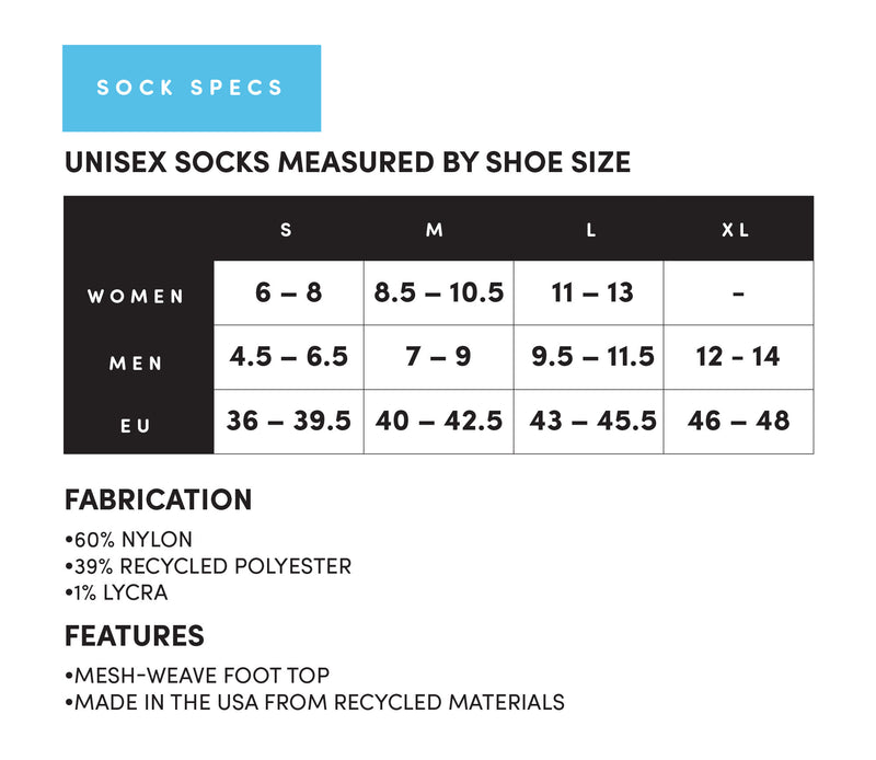Sizing Chart for Tiny Dice Buddies Socks