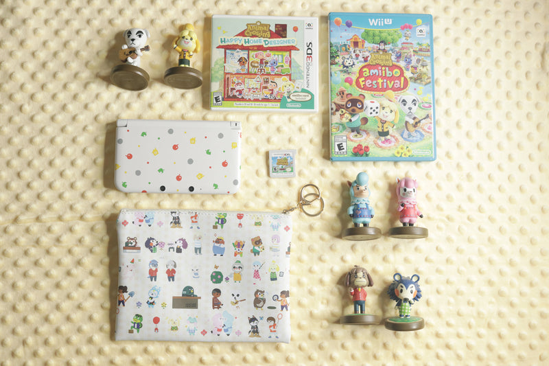Flat Lay of Animal Crossing Pouch with Amiibos, 3DS, and Games