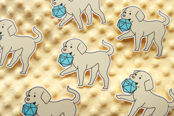 Labrador D20 Dice Buddy Sticker