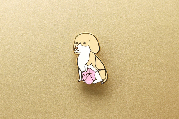 Beagle D20 Dice Buddy Enamel Pin