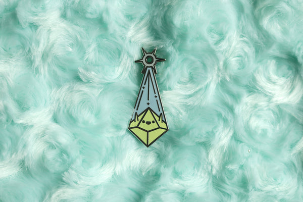 Blue and Lime Cleric Pin on Blue Fur Background