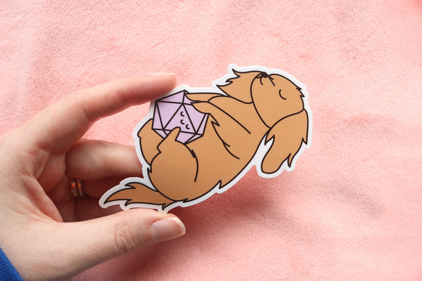 Long Haired Dachshund D20 Dice Buddy Stickers