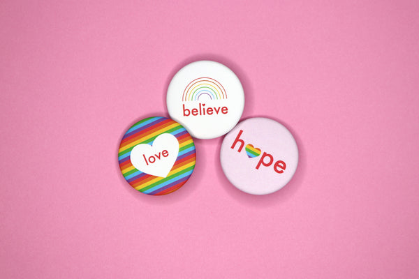 Love, Hope, Believe Buttons by Dbl Feature