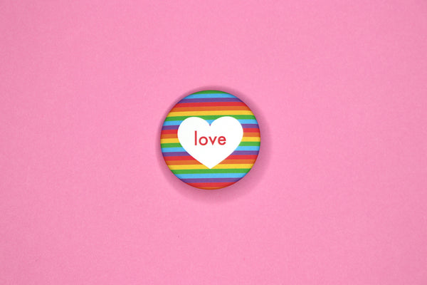 Rainbow Love Button by Dbl Feature