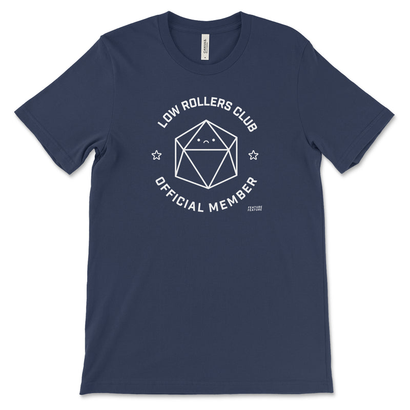 Navy Blue Low Rollers Club T-shirt for TTRPG Player