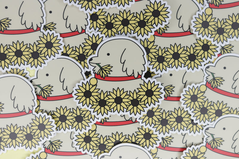 Pile of Yellow Sunflower Dog Stickers