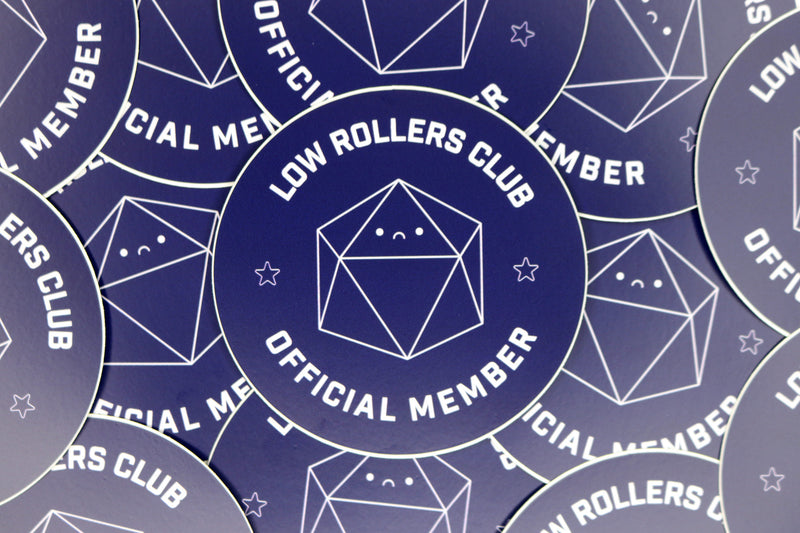 pile of navy blue low rollers club official member stickers