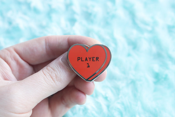 Player 1 Player 2 Conversation Hearts Hard Enamel Pins
