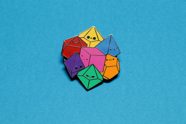 Primary Dice Cluster Enamel Pin