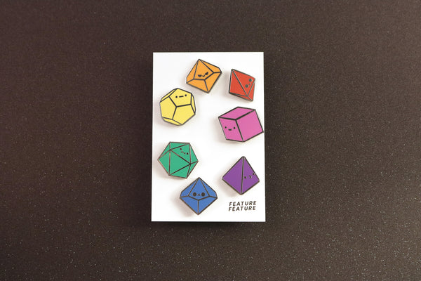 Rainbow Tiny Dice Buddies Hard Enamel Pin Set