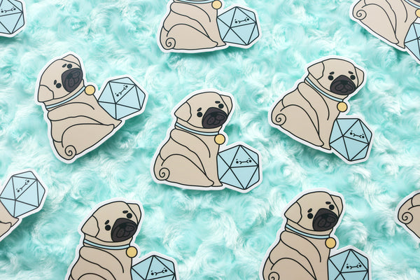 Pug D20 Dice Buddy Sticker