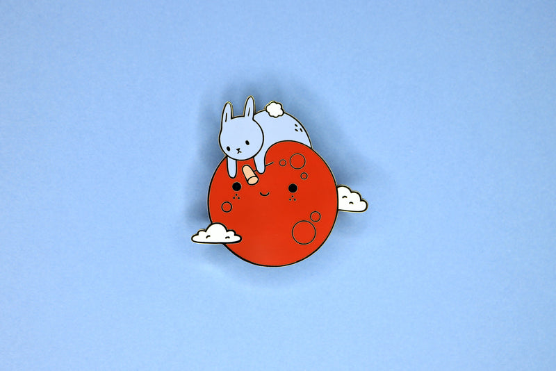 Red Blood Moon with Blue Bunny Hard Enamel Pin