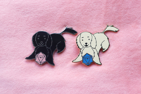 Retriever D20 Dice Buddy Enamel Pin