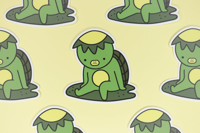 rows of green kappa stickers