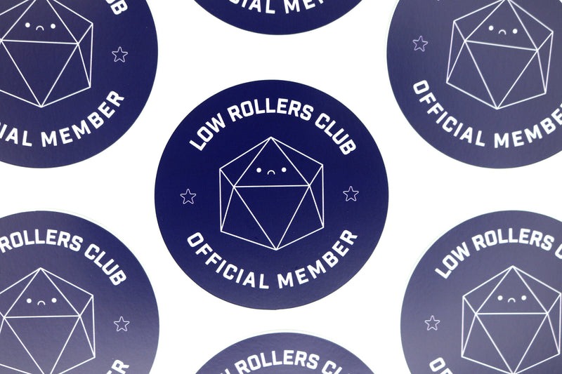 rows of sad d20 low rollers club stickers
