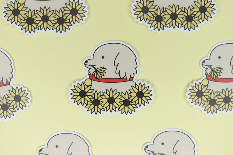 Rows of Yellow Sunflower Dog Stickers