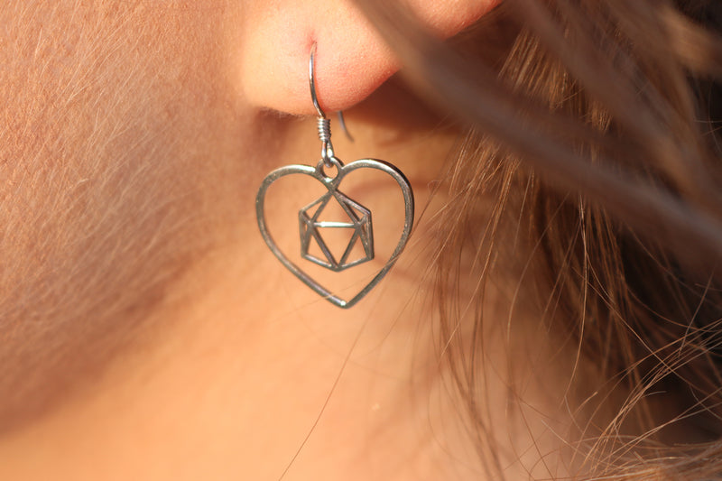 D20 Dice Love Earrings and Necklace