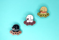 Sunflower Dog Hard Enamel Pin Variants