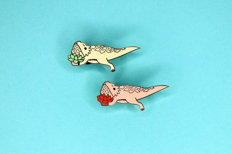 tan and red bearded dragon succulent hard enamel pins