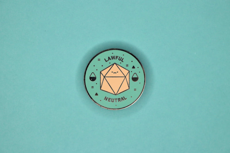 Teal and Peach d20  Lawful Neutral Hard Enamel Pin
