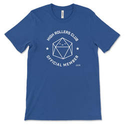 Royal Blue High Rollers Club T-shirt for DnD Players