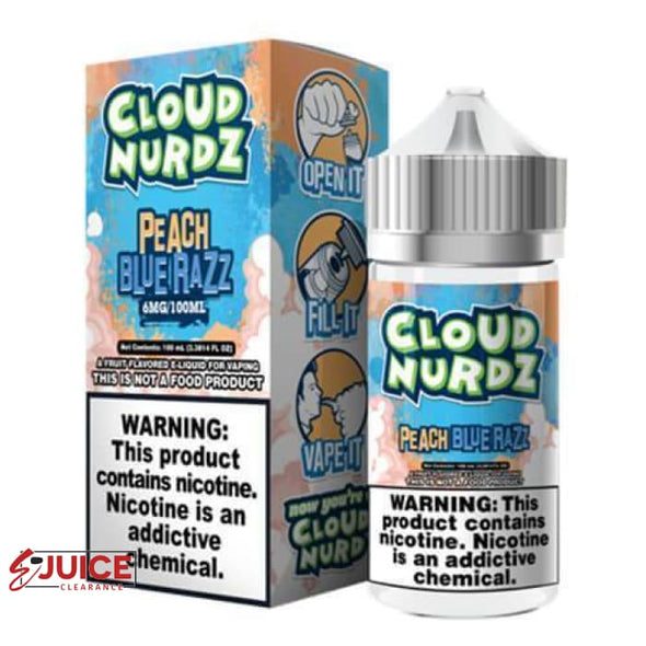 Peach Blue Razz - Cloud Nurdz 100ml - E-Liquids | E-juice Clearance