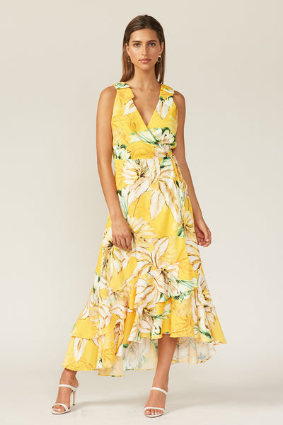 Jungle Palms Ruffle Dress