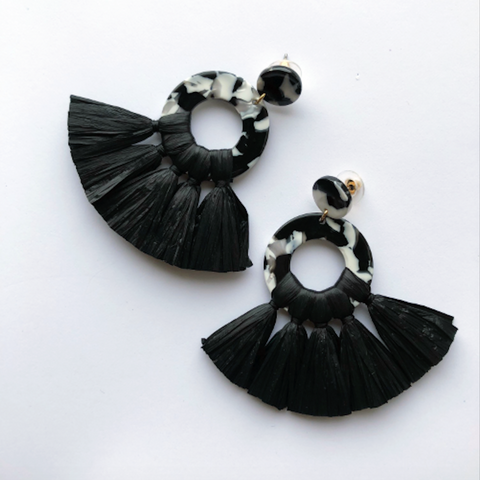 Black Tortoise Fringe Earrings