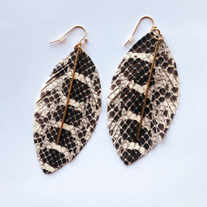 Snakeskin Leaf Earrings