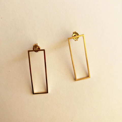 Open Rectangular Earrings