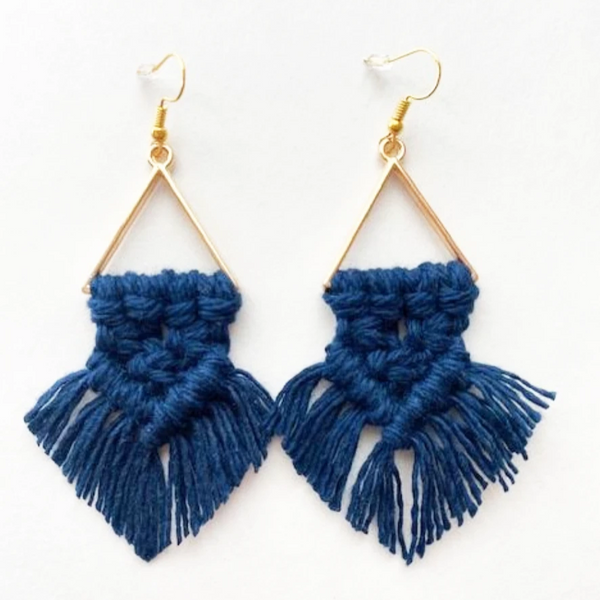macrame dream earrings navy