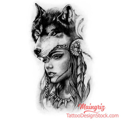 Native american woman with wolf tattoo design
