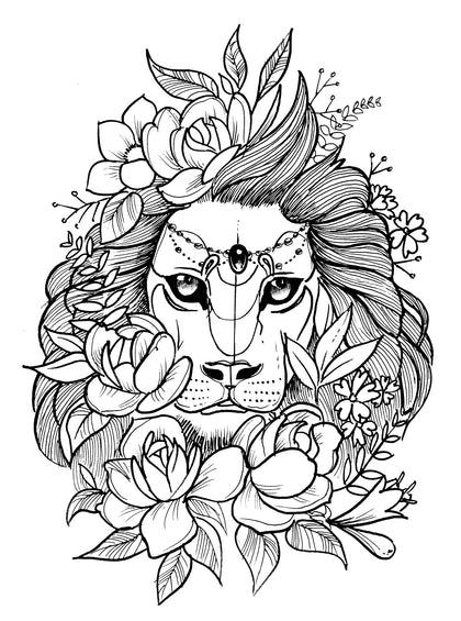 Selection of lions tattoo design references high resolution download