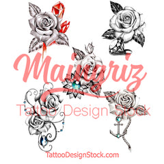 5 x Realistic roses with precious stone temporary tattoos by maingriz