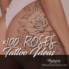 selection of hundreds roses tattoo designs ideas