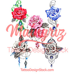 5 x sexy realistic roses with precious stone temporary tattoos by maingriz