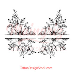 Half sleeve oriental flowers tattoo design