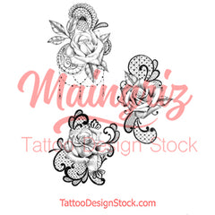 3 x Realistic rose with lace temporary tattoos by maingriz