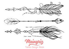 3 arrows with feathers tattoo design