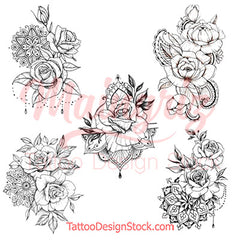 5 Oriental roses temporary tattoos by maingriz