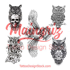 5 Owls temporary tattoos by maingriz