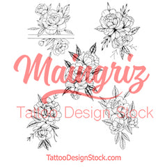 5 x sexy Peony linework temporary tattoos by maingriz