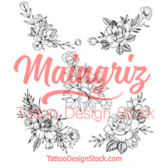 5 x Peony linework sideboob temporary tattoos by maingriz
