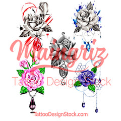 5 x precious stone with sexy realistic roses temporary tattoos by maingriz