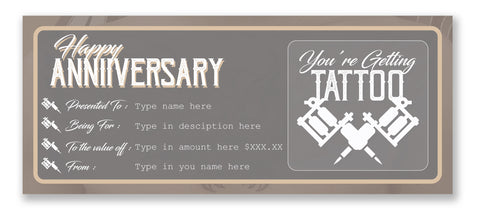 """This printable Anniversary Tattoo Gift Voucher is the perfect gift for your partner who is looking to get inked! Each gift certificate evokes the real tattoo vibes of a logo tattoo create by tattooist. You easily personalize the text yourself at home. Simply open it in Adobe Reader and type over my sample text with your own wording. Present this Anniversary Tattoo Gift Voucher for a unique gift this year! How it Works 1. INSTANT DOWNLOAD Instantly download this printable Anniversary Tattoo Gift Voucher immediately after your payment has been processed. 2. PERSONALIZE AT HOME Open the template in the FREE Adobe Reader on your laptop or computer and simply start typing over my sample text. This template will ONLY work in Adobe Reader not in any other program (or on your mobile device). Note that the the """"HAPPY ANNIVERSARY"""" or """"You're getting a TATTOO"""" text on this template cannot be changed. 3. PRINT Print as many times as you like on your home color printer (or at your local copy shop) on 8.5 x 11 inch (or A4 sized) bright white Cardstock. 4. CUT Cut out your Anniversary Tattoo Gift Voucher using the provided cut lines as a guide."""