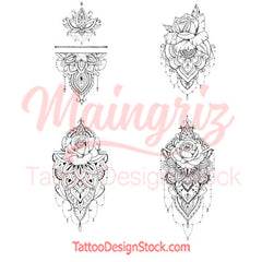 5 mandala roses temporary tattoos by maingriz